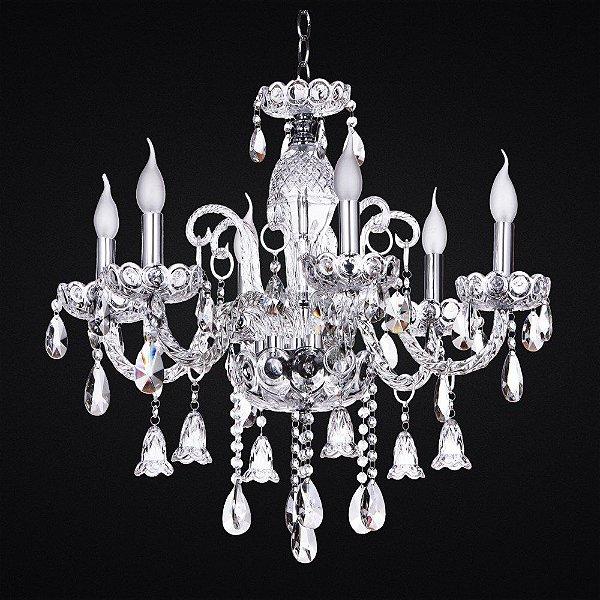 Lustre Candelabro Maria Tereza BUCKINGHAM Vidro e Cristal Transparente Ø65 para salas e entradas 3106ct Tupiara
