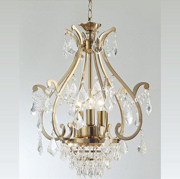 Lustre Candelabro Metais Dourado Ouro Cristal Trabalhado 5 Braços para Salas e Quartos 6105oc Leeds Tupiara