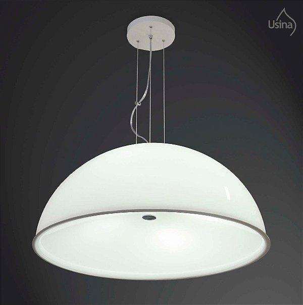 Pendente 1/2 Esfera Cromo Branco Cabo Regulável Decorativo Ø80 Usina Design E-27 10031/6 G Entradas e Hall