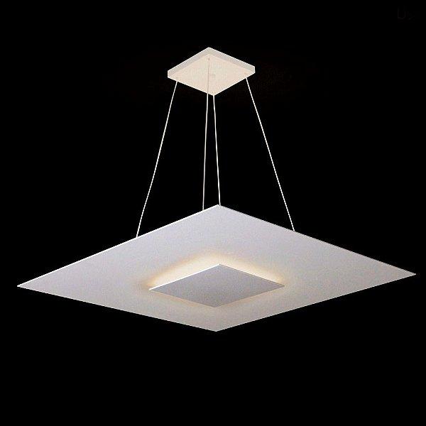 Pendente Quadrado Acrílico Branco Prato Central 50x50 Prime Lux Usina Design G9 261/50 Quartos e Salas
