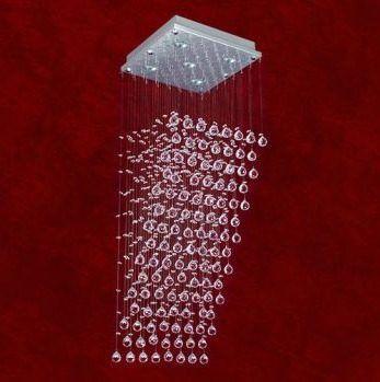 Lustre Quadrado Cascata Inox Cromado Cristal Transparente 4 Lâmpadas 80cm Triest Mr Iluminação Gu10 2227-4-ls Quartos e Salas