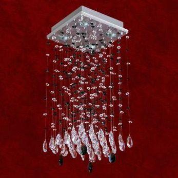 Lustre Quadrado Inox Cristal Asfour Transparente Preto 5 Lâmpadas 33x50 Triest Mr Iluminação Gu10 2224-5-ls Quartos e Salas