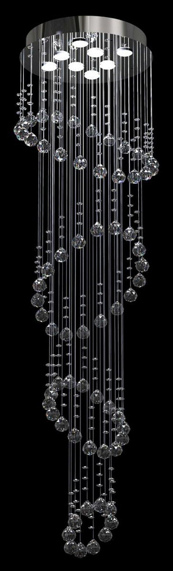 Lustre Redondo Inox Espelhado Aros Intercalados Cristal Transparente 8 Lâmpadas Ø42x2m New Design Gu10 402/42 Salas e Hall