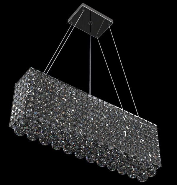 Pendente Retangular Alumínio Espelhado Cristal Translúcido 3 Lâmpadas 50x12 New Design G9 930/50q Quartos e Salas