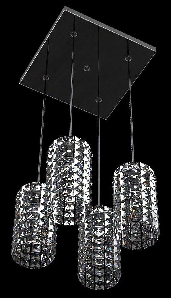 Pendente Quadrado Alumínio Espelhado Cúpula Cristal Transparente 4 Lâmpadas 30x30 New Design G9 815/4p Cozinhas e Salas