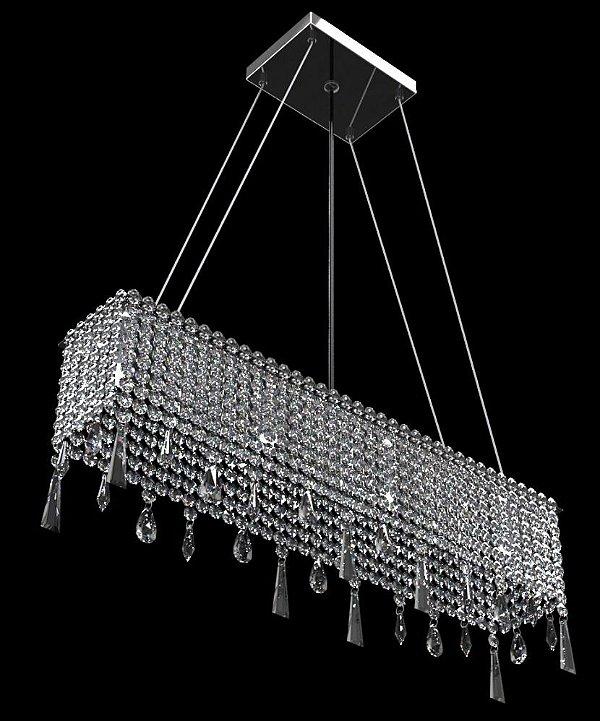 Pendente Retangular Alumínio Espelhado Cristal Castanha Translúcio 3 Lâmpadas 50x11 New Design G9 930/50c Salas e Hall