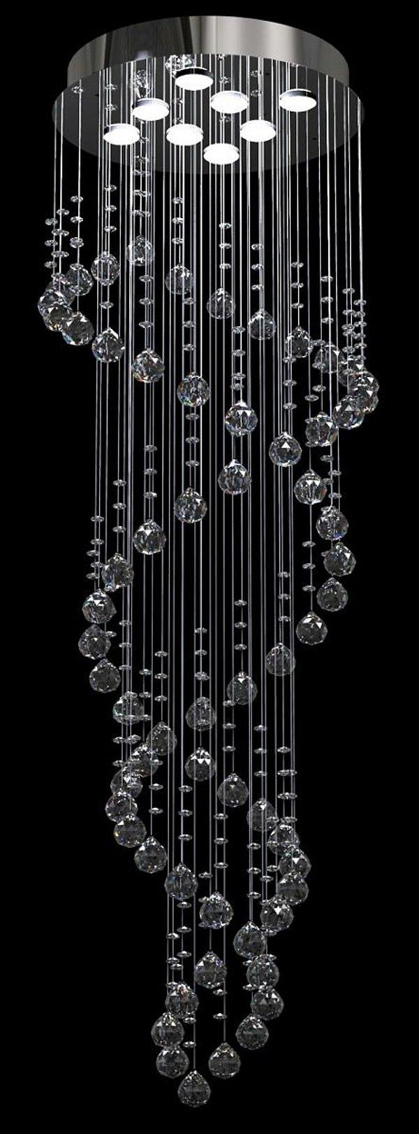 Lustre Redondo Inox Espelhado Dna Cristal Translúcido 8 Lâmpadas Ø42 New Design Gu10 Dna/42 Entradas e Salas