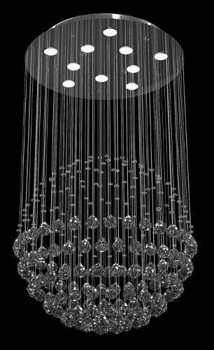 Lustre Redondo Inox Espelhado Globo Cristal Translúcido 10 Lâmpadas Ø60x1,20 New Design Gu10 G1/60 Entradas e Salas