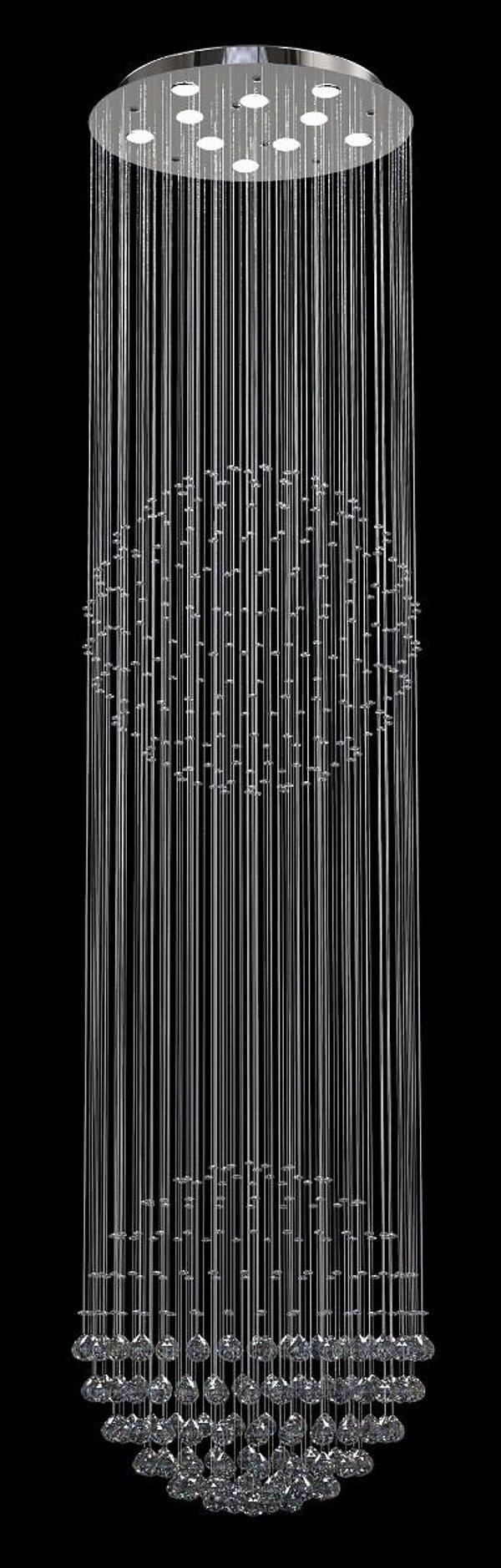 Lustre Redondo Inox Espelhado 2 Esferas Cristal Translúcido 10 Lâmpadas Ø60x2,80 New Design Gu10 G2/60 Quartos e Hall