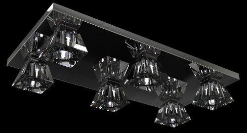 Spot Lustre Plafon Cristal Inox Legítimo 60x30x11 Sala Salão Estar Comercial Quarto Pf821/6 New