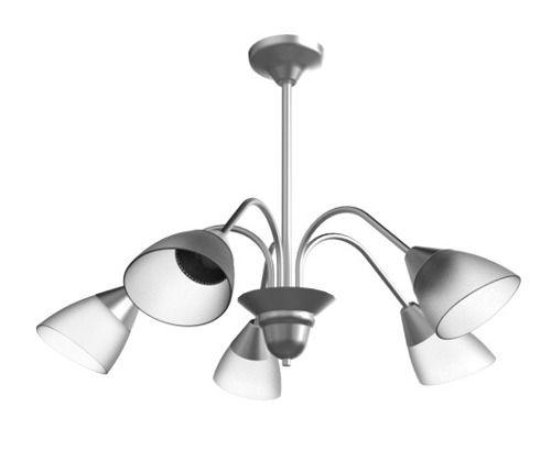 Lustre Arcos Tulipa Alumínio Escovado 5 Braços Curvos Cúpula Vidro Ø60x44 New Design E-27 110/5 Salas e Hall