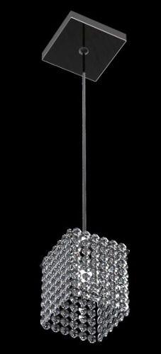 Pendente Vertical Quadrado Espelhado Cúpula Cristal Translúcido 12x12 New Design G9 814/1-p Quartos e Hall