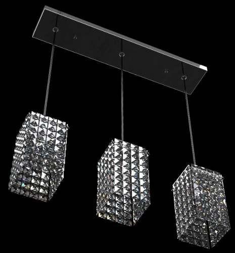 Pendente Alumínio Espelhado Cúpula Cristal Transparente 3 Lâmpadas 60x12 New Design G9 814/3-p Salas e Hall