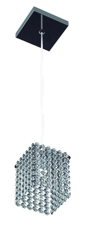 Pendente Quadrado Alumínio Espelhado Cúpula Cristal Transparente 12x12 New Design G9 812/1-m Entradas e Quartos