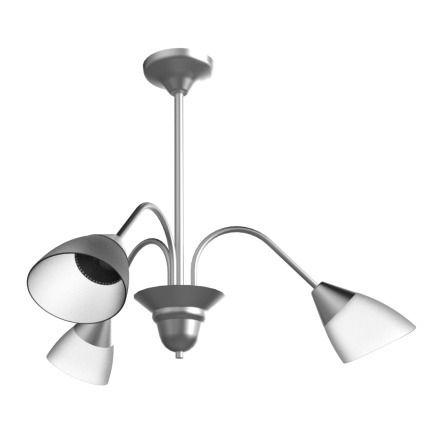 Lustre Arcos Tulipa Alumínio Escovado 3 Braços Curvos Cúpula Vidro 60x35 New Design E-27 110/3 Cozinhas e Salas
