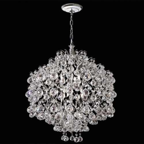 Pendente Design Moderno Colmeia Cromado Cristal Transparente 12 Lâmpadas Ø1m Mr Iluminação E-14 2397-100-Is Salas e Hall