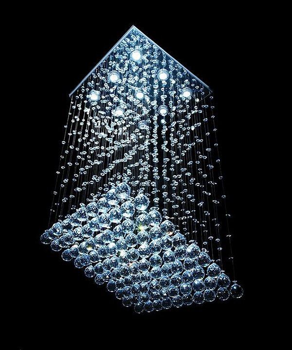 Lustre Quadrado Cromado Rampa Cristal Translúcido 9 Lâmpadas 47x47 DNA Gu10 QU-009 RMP Entradas e Salas