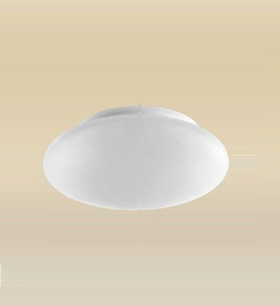 Plafon Sobrepor Redondo Branco Vidro Leitoso Fosco Ambience Madelustre Led 2090.64.18B Quartos e Corredores
