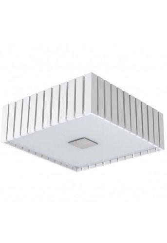 Plafon Branco Rústico Quadrado Sobrepor Madeira Maciça 42x42cm Castor Madelustre 2561-BR Quartos e Corredores