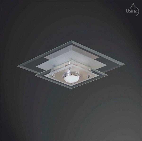 Plafon Quadrado Vidro Bisotê Sobrepor Transparente 30x30 New Beta Usina Design E-27 221/1 Quartos e Salas