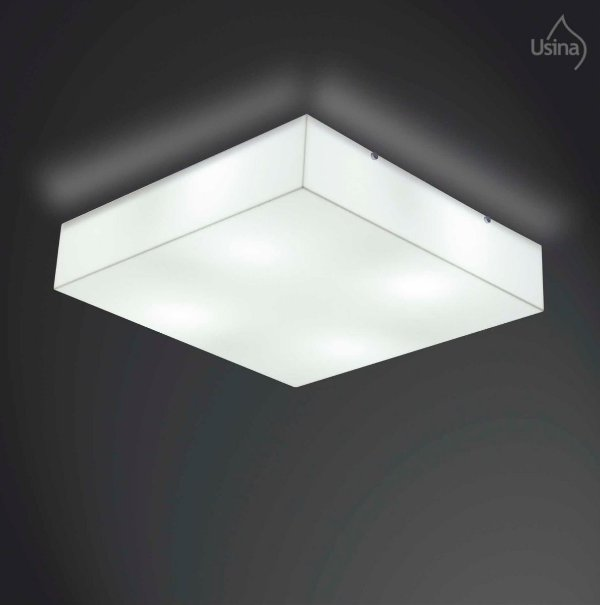 Plafon Sobrepor Acrílico Quadrado Branco 30x30 E27 Usina Design Polar 10100/30 Quartos e Salas