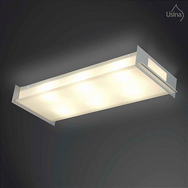 Plafon Retangular Vidro Lapidado e Polido Fosco 40x50 Classic Usina Design E-27 160/6 Gd Quartos e Salas