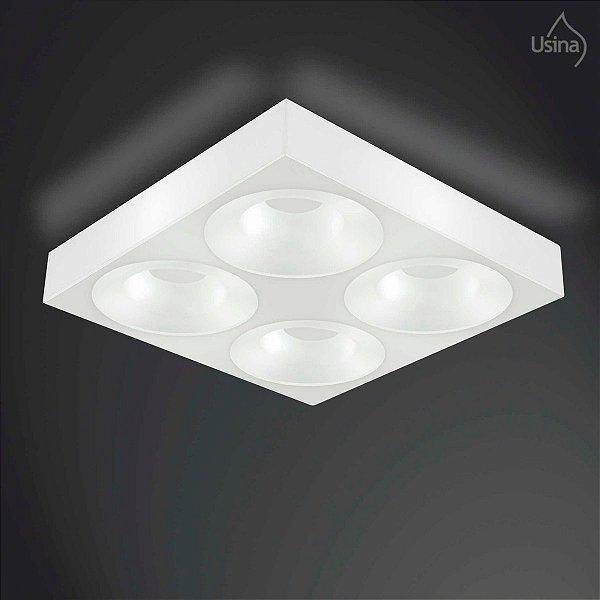 Plafon Sobrepor Acrílico Quadrado Branco 40x40 Usina Design E-27 10043/4 Salas e Escritórios