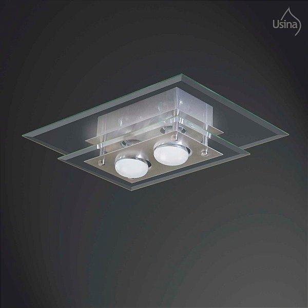 Plafon Retangular Vidro Bisotê Sobrepor Transparente 30x40 New Beta Usina Design E-27 225/2 Quartos e Salas