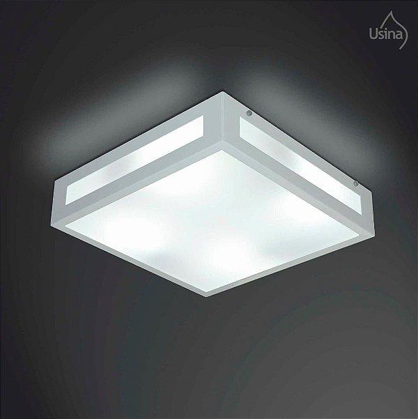 Plafon Quadrado Branco Sobrepor Vidro Fosco 36x36 Gold Usina Design E-27 312/40 Quartos e Corredores