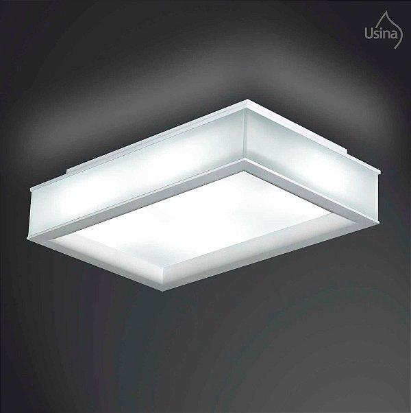 Plafon Branco Retangular Vidro Fosco Sobrepor 24x37 Usina Design E-27 3122/4 Md Quartos e Salas