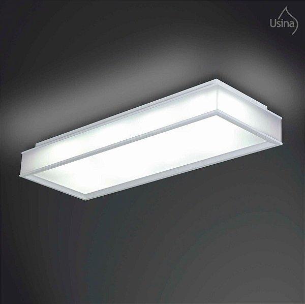 Plafon Retangular Escovado Branco Sobrepor Vidro Fosco 37x49 Usina Design E-27 3073/6 Quartos e Corredores