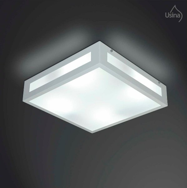 Plafon Quadrado Branco Vidro Fosco Sobrepor 26x26 Gold Usina Design E-27 312/30 Md Quartos e Salas