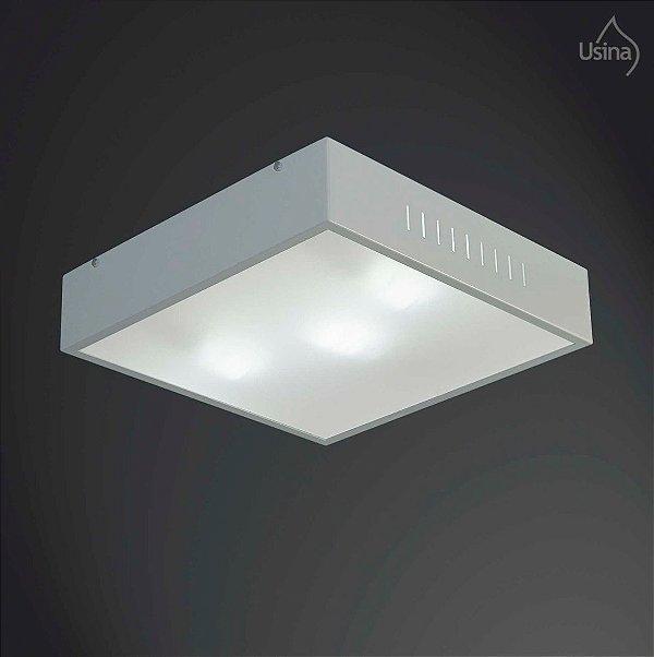 Plafon Sobrepor Alumínio e Vidro Branco Quadrado 19x19 Soft Usina Design E-27 310/20 Salas e Cozinha
