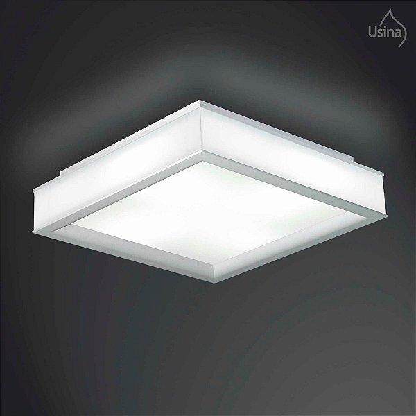 Plafon Sobrepor Acrílico Abaulado Quadrado Branco 37x37 Usina Design Esplendor E-27 3100/37 Lavabos e Quartos