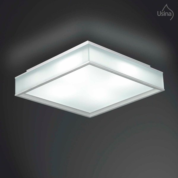 Plafon Quadrado Vidro Fosco Sobrepor 24x24 Usina Design E-27 3070/24 Quartos e Salas