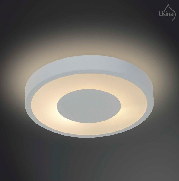 Plafon Sobrepor Acrílico Leitoso Redondo Branco Ø60 Usina Design Donna E-27 4090/60 Gd Salas e Quartos