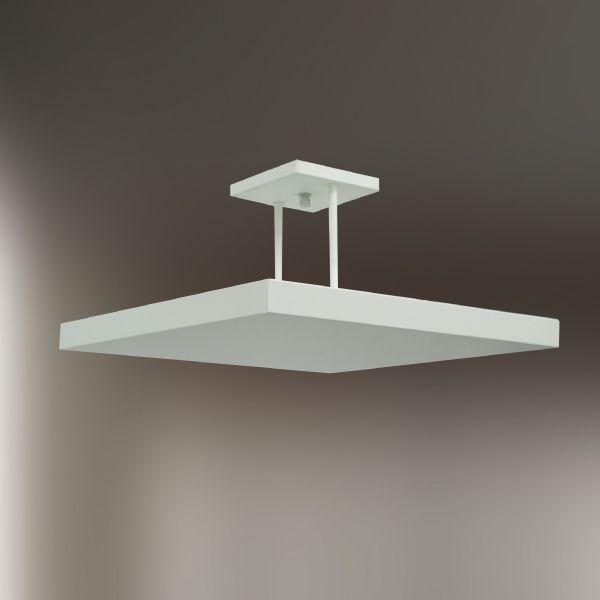 Plafon Sobrepor Quadrado Alumínio Branco Slim c/ Haste 30x30cm Golden Art Halógena T116-30 Salas e Escritórios