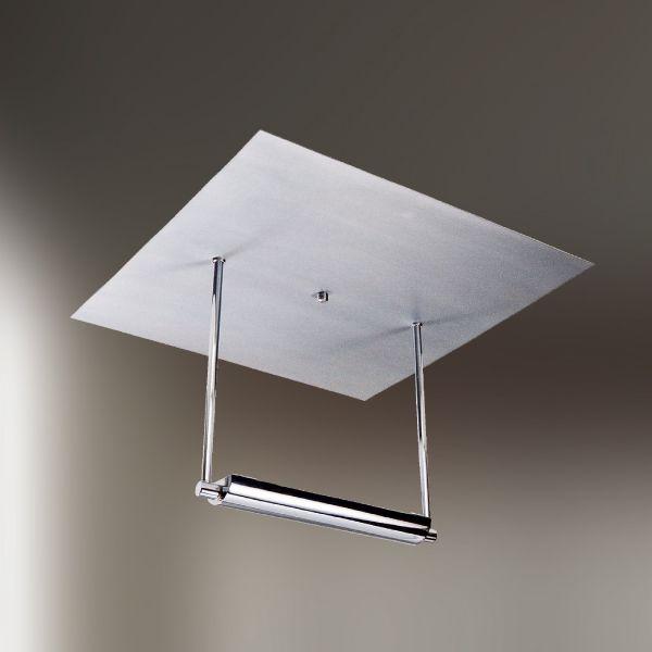 Plafon Quadrado Canoa Aço Escovado Luz Indireta 40x40 Golden Art Halógena T257 Quartos e Salas