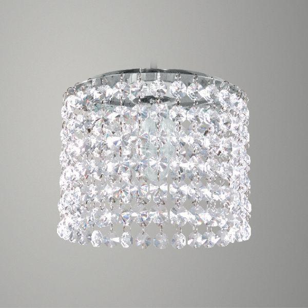 Plafon Sobrepor Redondo Alumínio Cromado Cristal Transparente Ø15cm Golden E-27 Art T281-A Banheiros e Quartos