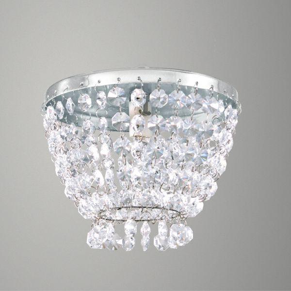 Plafon Sobrepor Redondo Alumínio Cromado Cristal Transparente Ø15 Golden Art G9 T280-A Quartos e Salas