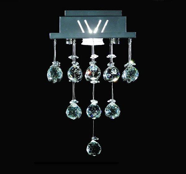 Plafon Quadrado Inox Cristal Transparente Asfour Uniforme 18x18 DNA GU10 Qu001/30-u Quartos e Cozinhas