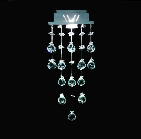 Plafon Sobrepor Quadrado Inox Fosco Cristal Asfour Intercalado 18x18 DNA GU10 Qu001/30-int Salas e Escritórios