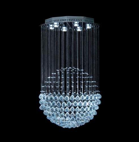 Lustre Redondo Esfera Cromado Cristal Translúcido 7 Lâmpadas Ø60x80 DNA Gu10 Esf-060 Entradas e Salas