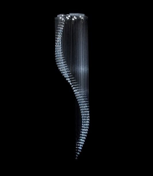 Pendente Cromado Cascata Cristal Translúcido 9 Lâmpadas Ø80 DNA Gu10 Csc-3000 Salas e Hall