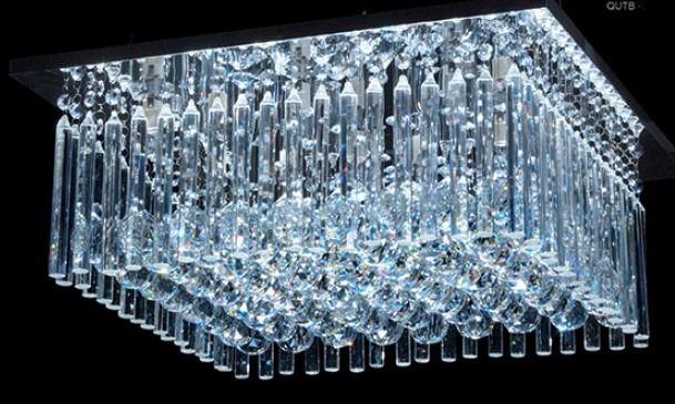 Plafon Sobrepor Quadrado Cristal Lapidado Transparente 40x40 DNA Halopin Qutb-40x40 Salas e Escritórios