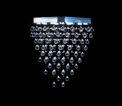 Lustre Oval Cromado Cristal Intercalado Translúcido 13 Lâmpadas 80x40 DNA Gu10 Ovl-013 Entradas e Hall
