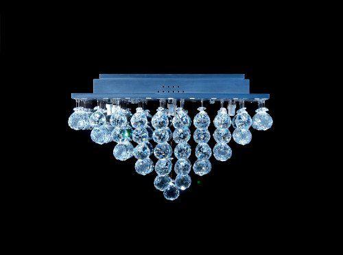 Plafon Quadrado Inox Cristal Asfour Transparente Pirâmide Uniforme 47x47 DNA Halopin Qubp-009 Quartos e Banheiros