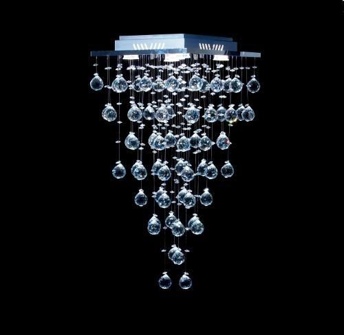 Plafon Sobrepor Quadrado Inox Fosco Cristal Asfour Transparente Intercalado 37x37 DNA GU10 Qu-005 Quartos e Salas