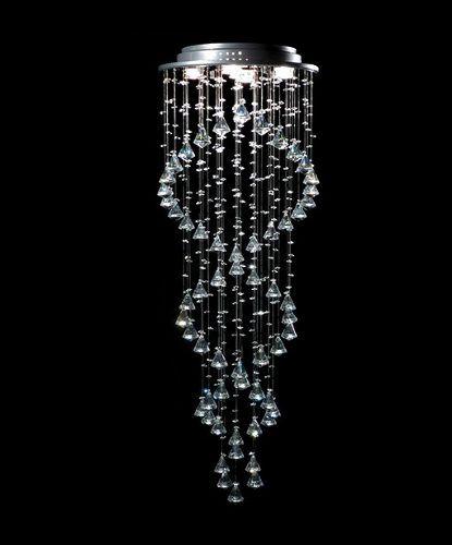 Plafon Sobrepor Redondo Inox Cromado Cristal Transparente Asfour DNA Ø40 DNA GU10 Rd-005-dna Hall e Salas