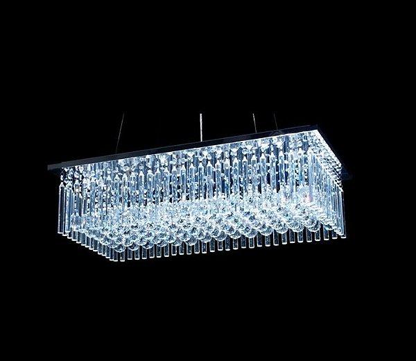 Plafon Retangular Inox Cristal Lapidado Transparente Tubos e Bolas 80x40 DNA Halopin Rttb-80x40 Salas e Escritórios